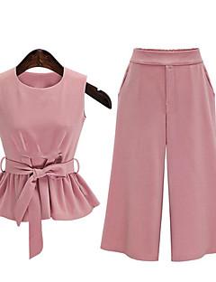 Mulheres Conjunto Casual Plus Sizes / Moda de Rua Verão,Sólido Rosa / Preto Algodão Decote Redondo Sem Manga Média