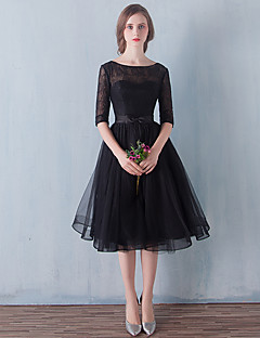 A-Line Illusion Neckline Knee Length Tulle Cocktail Party Homecoming Prom Dress with Bow(s) Lace by ARMK