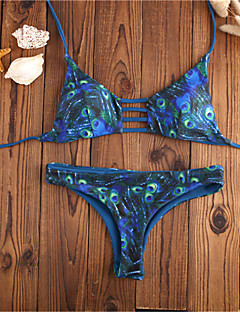 billige Bikinier og damemote 2017-Dame Bikini - Trykt mønster, G-streng Reaktivt Trykk Sexy