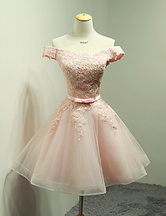 cheap Romance Blush-Ball Gown Off Shoulder Short / Mini Organza Lace Bodice Bridesmaid Dress with Appliques Bow(s) Sash / Ribbon by LAN TING Express