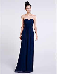 Sheath / Column Sweetheart Floor Length Chiffon Bridesmaid Dress with Criss Cross by LAN TING BRIDE®