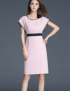 Women's Going out Street chic Sheath Dress,Solid Round Neck Above Knee Sleeveless Pink Polyester Summer