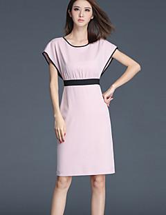 Pochwa Sukienka Obuwie damskie Wyjściowe Moda miejska Jendolity kolor,Okrągły dekolt Przed kolano Bez rękawów Różowy Poliester Lato