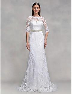 billiga Trumpet-/sjöjungfrubrudklänningar-Trumpet / sjöjungfru Illusion Halsband Svepsläp Spets Bröllopsklänningar tillverkade med Spets av LAN TING BRIDE® / Genomskinliga