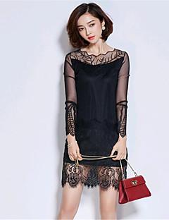 여성의 칼집 드레스 데이트 / 플러스 사이즈 스트리트 쉬크 패치 워크,비대칭 무릎 위 긴 소매 핑크 / 블랙 / 그레이 면 / 스판덱스 여름