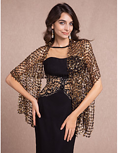 cheap Wedding Wraps-Sleeveless Cotton Party Evening Wedding  Wraps Shawls With Sequin Shawls