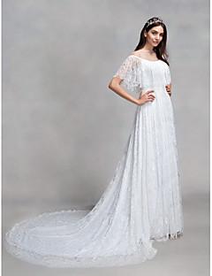 billiga Brudklänningar-A-linje Bateau Neck Hovsläp Heltäckande spets Bröllopsklänningar tillverkade med Spets av LAN TING BRIDE®