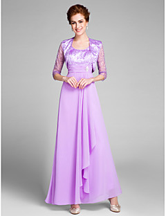 cheap Mother of the Bride Dresses-Sheath / Column Scoop Neck Ankle Length Chiffon Mother of the Bride Dress with Crystal Detailing Ruched by LAN TING BRIDE®