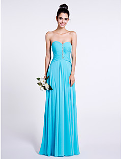 Sheath / Column Sweetheart Floor Length Chiffon Bridesmaid Dress with Beading Ruching by LAN TING BRIDE®