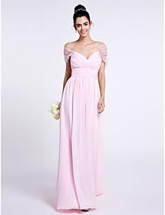 cheap Romance Blush-Sheath / Column Off Shoulder Floor Length Chiffon Bridesmaid Dress with Criss Cross by LAN TING BRIDE®
