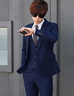 お買い得  メンズブレザー&スーツ-男性用 プラスサイズ スーツ ソリッド / 長袖 / ワーク