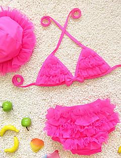 billige Badetøj til piger-Badetøj Sport Blomstret, Polyester Sommer Lilla Gul Rød Lys pink Lyseblå