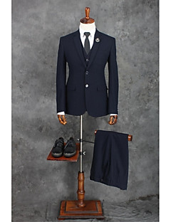 Dark Navy Stripes Standard Fit Polyester Suit - Notch Single Breasted Two-buttons