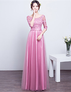 cheap Romance Blush-Sheath / Column Scoop Neck Floor Length Lace Satin Bridesmaid Dress with Lace Sash / Ribbon by LAN TING BRIDE®