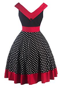 Kadın Dışarı Çıkma Vintage A Şekilli Elbise Yuvarlak Noktalı,Kolsuz V Yaka Diz-boyu Pamuklu Polyester Yaz Yüksek Bel Mikro-Esnek