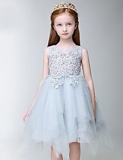 Vestido de menina de flor de joelho com uma linha de joias - Tulle com jóias sem mangas com applique de thstylee