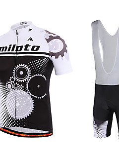 billiga Cykling-Miloto Herr Kortärmad Cykeltröja med Haklapp-shorts Cykel Bib Shorts Bib Tights Tröja Klädesset, Snabb tork, Andningsfunktion,