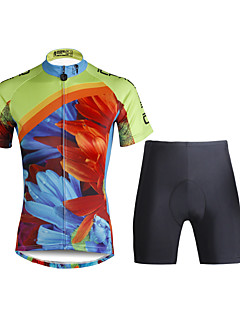 ILPALADINO Women s Short Sleeve Cycling Jersey with Shorts - Black Floral   Botanical  Bike Clothing Suit Breathable 3D Pad Quick Dry Ultraviolet Resistant ... c06747095