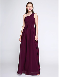 cheap Purple Passion-Sheath / Column One Shoulder Floor Length Chiffon Bridesmaid Dress with Criss Cross by LAN TING BRIDE®