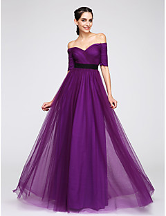 billiga Balklänningar-A-linje Off shoulder Golvlång Tyll Cocktailfest / Bal / Formell kväll Klänning med Korsvis av TS Couture®