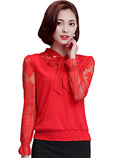 cheap Women's Tops-Women's Going out Casual Street chic Blouse - Solid Colored, Bow