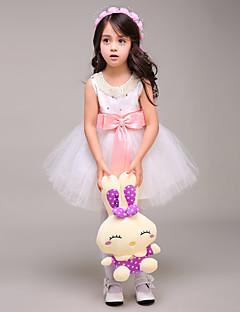 tanie Sukienki dla dziewczynek z kwiatami-Balowa Krótka / Mini Sukienka dla dziewczynki z kwiatami - Tiul Bez rękawów Zaokrąglony z Kokardki przez