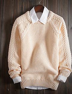 billige -Normal Pullover Fritid/hverdag Herre,Ensfarget Langermet Bomull Polyester Høst Vinter