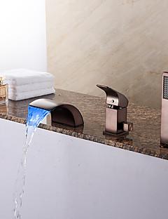 tanie Bateria Wannowa LED-Bateria wannowa - Antyczny Brąz przetarty olejem Wanna rzymska Zawór ceramiczny Bath Shower Mixer Taps / Mosiądz / Jeden uchwyt Trzy otwory