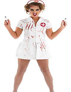 billige Sexy Uniformer-Sykepleiere Cosplay Kostumer / Party-kostyme Dame Halloween Festival / høytid Halloween-kostymer Hvit Ensfarget / Trykt mønster