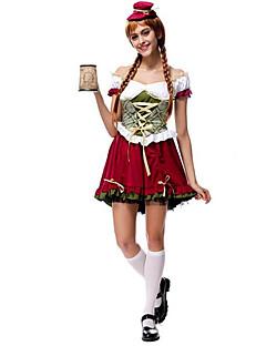 billige Halloweenkostymer-bayerske Oktoberfest Cosplay Kostumer Party-kostyme Dame Jul Halloween Karneval Nytt År Festival / høytid Halloween-kostymer Rød og Hvit