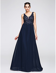 cheap -A-Line V Neck Floor Length Chiffon Prom / Formal Evening Dress with Appliques by TS Couture®