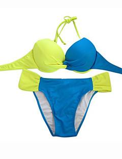 Kvinner Fargeblokk / Push-Opp Bandeau Bikini Nylon / Spandex
