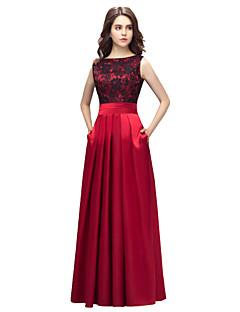billige Boutique-kjoler! STOR RABATT-A-linje Båthals Gulvlang Charmeuse Skoleball / Formell kveld Kjole med Plissert av LAN TING Express