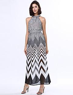 Χαμηλού Κόστους Stripes & checks-Γυναικεία Γραμμή Α Swing Φόρεμα - Ριγέ, Χιαστί Μακρύ Ψηλοκάβαλο Όρθιος Γιακάς