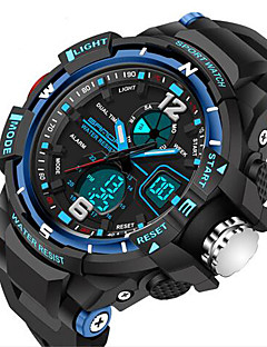 SANDA Herre Sportsklokke Digital Watch Quartz Digital Japansk Quartz LCD Kalender Vannavvisende Dobbel Tidssone alarm Stoppeklokke