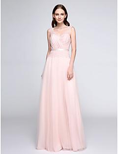 billige Romantisk rosa-Tube / kolonne V-hals Gulvlang Blonder Tyll Brudepikekjole med Blonder av LAN TING BRIDE®