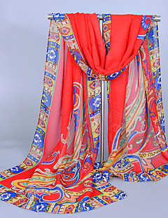 Women's Chiffon India Totem Print Scarf Red/White/Black/Blue/GrayCoffee