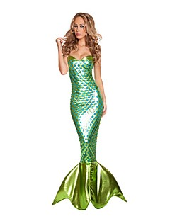 girls female mermaid tail dress cosplay costumes party mermaid tail fairytale festivalholiday halloween costumes - Green Halloween Dress