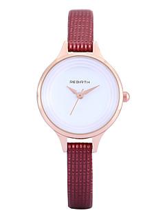 billige Høj kvalitet-REBIRTH Dame Quartz Armbåndsur / Hot Salg PU Bånd Afslappet Minimalistisk Elegant Mode Sort Hvid Rød Brun Pink