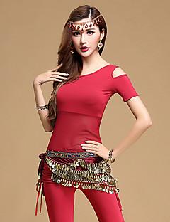 Dança do Ventre Roupa Mulheres Treino Modal 3 Peças Manga Curta Natural Blusa Calças Cinto
