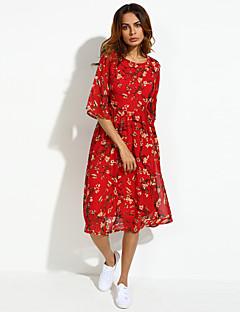 婦人向け ボヘミアン / ストリートファッション プラスサイズ / シフォン ドレス , フラワー ミディ ラウンドネック シルク