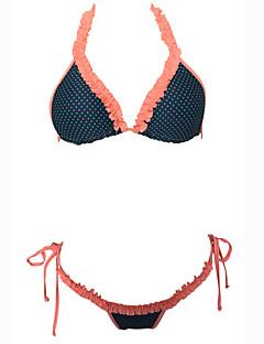 Kvinner Prikket / Retro Halter Bikini Nylon / Spandex