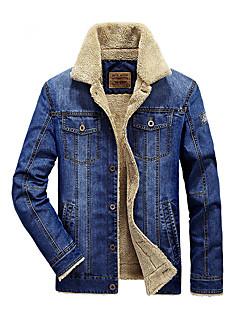billige Herremote og klær-Denimstoff Store størrelser Normal Høy krage Jakke Helfarge Vinter Daglig Avslappet Helg Herre
