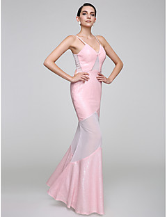 cheap -Mermaid / Trumpet Spaghetti Straps Floor Length Tulle Sequined Cocktail Party / Homecoming / Prom / Formal Evening / Holiday Dress with
