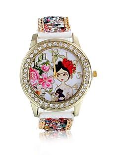 billige Blomster-ure-Dame Quartz Armbåndsur / Imiteret Diamant Læder Bånd Blomst Mode Rød