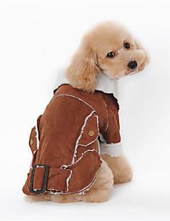 billiga Hundkläder-Hund Kappor Hundkläder Djur Kaffe Brun Blå Läder Cotton Ner Kostym För husdjur Herr Dam Håller värmen