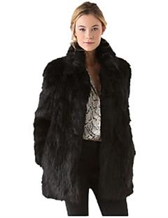 Χαμηλού Κόστους -Γυναικεία Μεγάλα Μεγέθη Γούνινο παλτό Δουλειά Βίντατζ - Μονόχρωμο