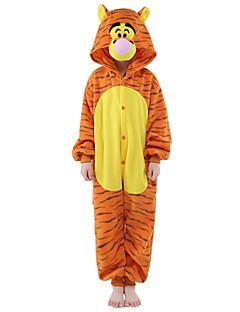billige Kigurumi-Kigurumi-pysjamas Tiger Onesie-pysjamas Kostume Fløyel Mink Oransje Cosplay Til Barn Pysjamas med dyremotiv Tegnefilm Halloween Festival