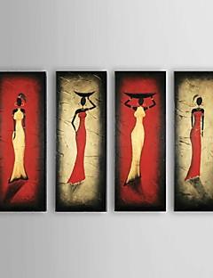 baratos Retratos Abstratos-Pintura a Óleo Pintados à mão - Abstrato / Pessoas / Retratos Abstratos Clássico / Modern / Estilo Europeu Tela de pintura / 4 Painéis
