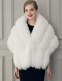 cheap Wedding Wraps-Sleeveless Faux Fur Wedding Party Evening Women's Wrap With Feathers / fur Capelets